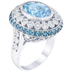 6.52 Carat Aquamarine Diamond Cocktail White Gold Ring