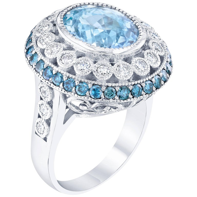 6.52 Carat Aquamarine Diamond Cocktail White Gold Ring For Sale