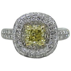 1.50 Carat Fancy Yellow Cushion Cut Diamond Engagement Ring