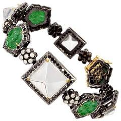 Jade Diamond Crystal and Pearl Bracelet