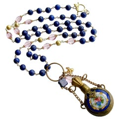 Lapis Pink Quartz Porcelain Chatelaine Scent Bottle Necklace