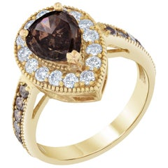2.77 Carat Yellow Gold Fancy Diamond Vintage Style Ring