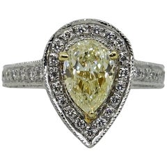 1.33 Pear Shaped Fancy Light Yellow Diamond Platinum Engagement Ring