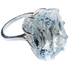 38 Carat Natural Blue Topaz in Sterling Silver Ring