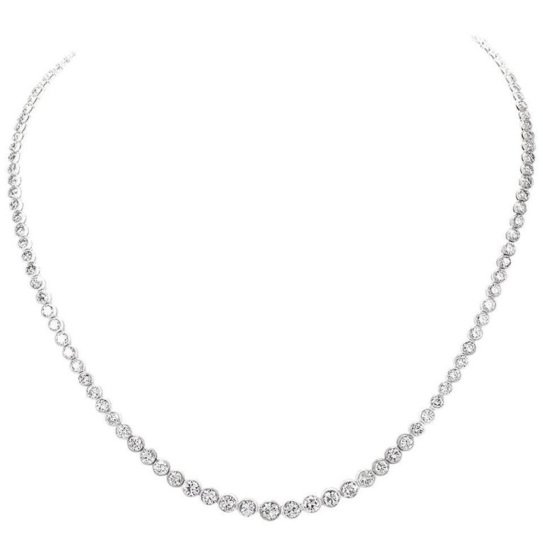 Diamond Platinum Riviere Tennis Necklace For Sale