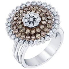1.22 Carat White Gold Fancy Diamond Dome Ring