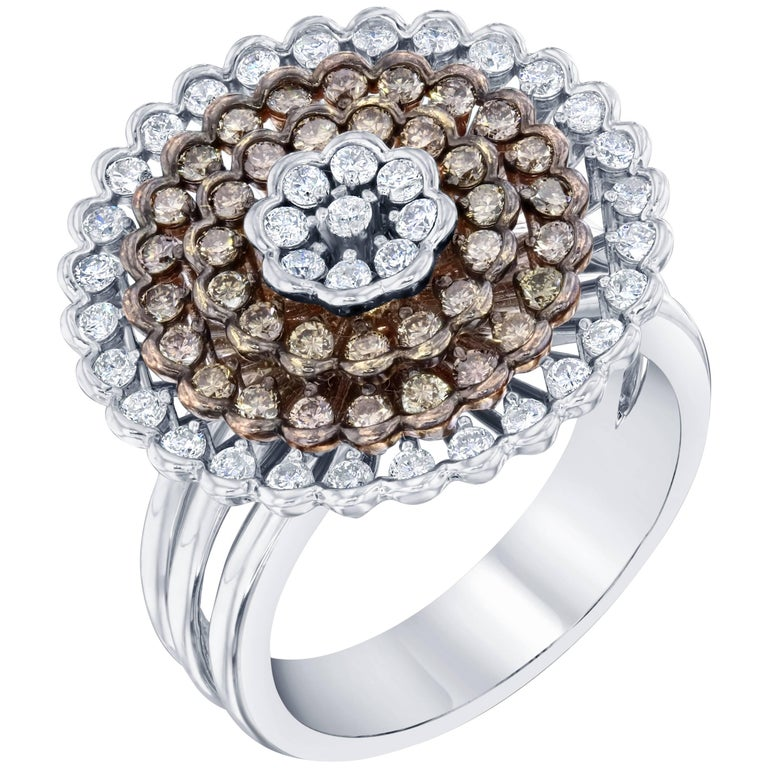 1.22 Carat White Gold Fancy Diamond Dome Ring