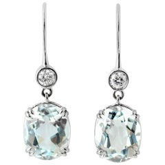 Julius Cohen White Gold, Diamond and Aquamarine Drop Earrings