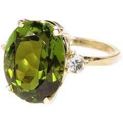 Oval Green Tourmaline with White Sapphires in Gold Ring