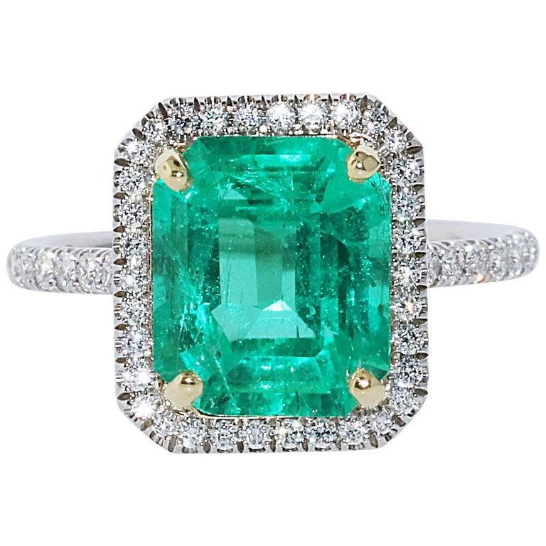 3.39 Carat Colombian Minor Emerald Cut Emerald and Diamond Ring, GIA Certificate