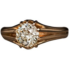 1.10 Carat Old European Cut Diamond Gold Antique Unisex Ring