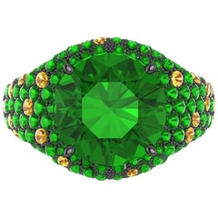 Ferrucci Natural Green Tsavorite and Yellow Citrines Black Gold Ring