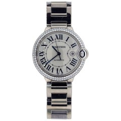 Cartier White Gold Diamond Ballon Bleu Automatic Wristwatch
