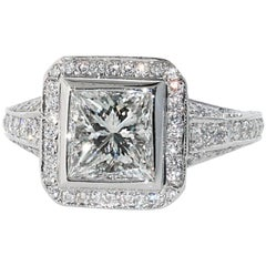 1.54 H/VVS2 Princess Cut Diamond Engagement Ring, Signed Peter Norman Mounting