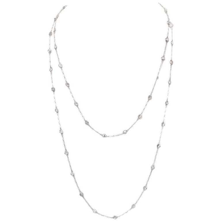 12.95 Carat Diamond by the Yard Platinum Chain Necklace For Sale