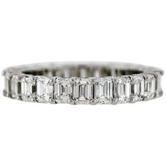 Emerald Cut Diamond Platinum Eternity Band 3.55 Carat
