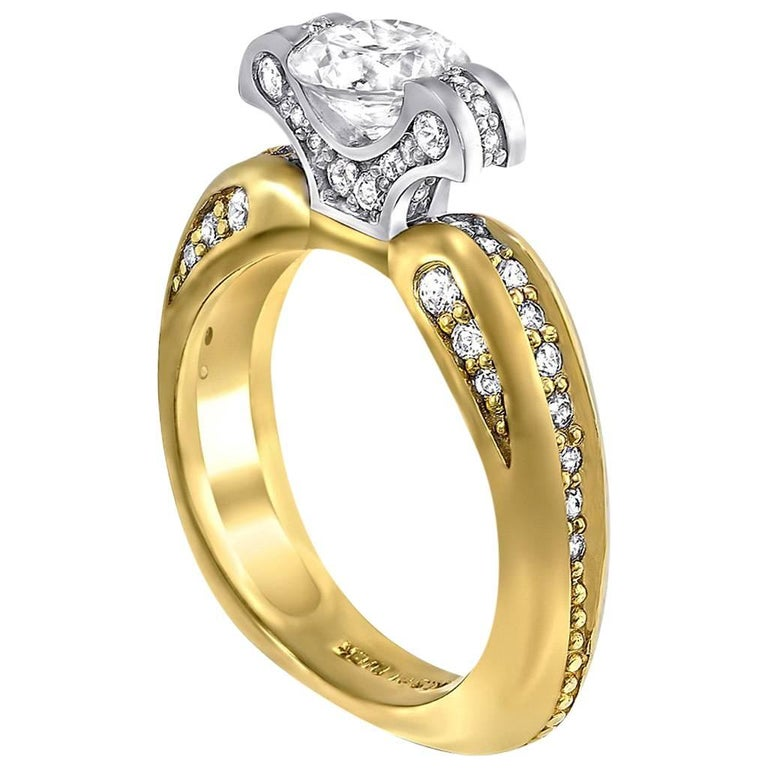 Alex Soldier 1 Carat Diamond Gold Engagement Ring One of a Kind