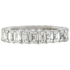 Emerald Cut Diamond Platinum Eternity Band 3.80 Carat