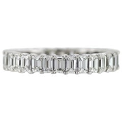 Emerald Cut Diamond Platinum Eternity Band 2.89 Carat