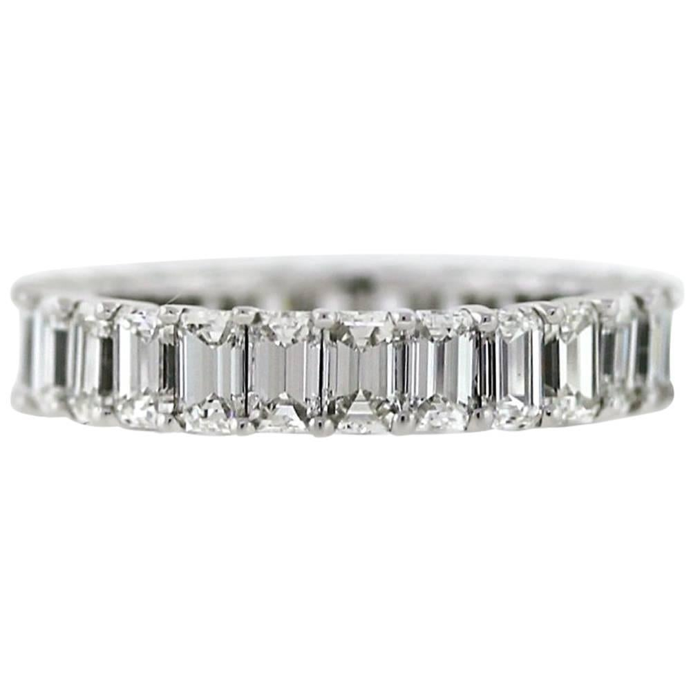 Emerald Cut Diamond Platinum Eternity Band 3.92 Carat