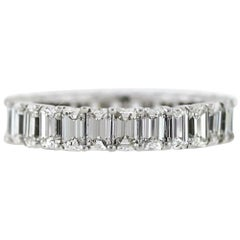 Emerald Cut Diamond Platinum Eternity Band 3.92 Carat