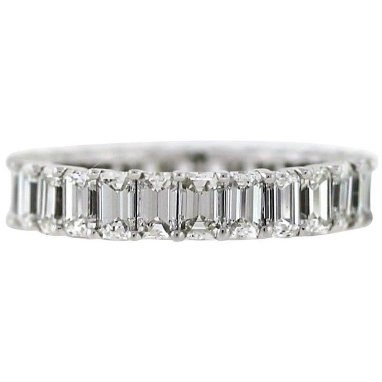 Emerald Cut Diamond Platinum Eternity Band 3.92 Carat For Sale