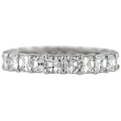 Asscher Cut Diamond Platinum Eternity Band 3.86 Carat