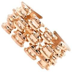 Tiffany & Co. Retro Wide Yellow Gold Fancy Tank Link Bracelet