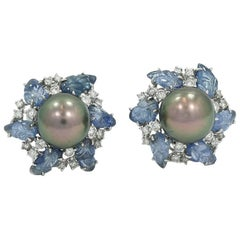 20.00 Carat Carved Sapphires, Diamond and Black Pearl White Gold Earrings
