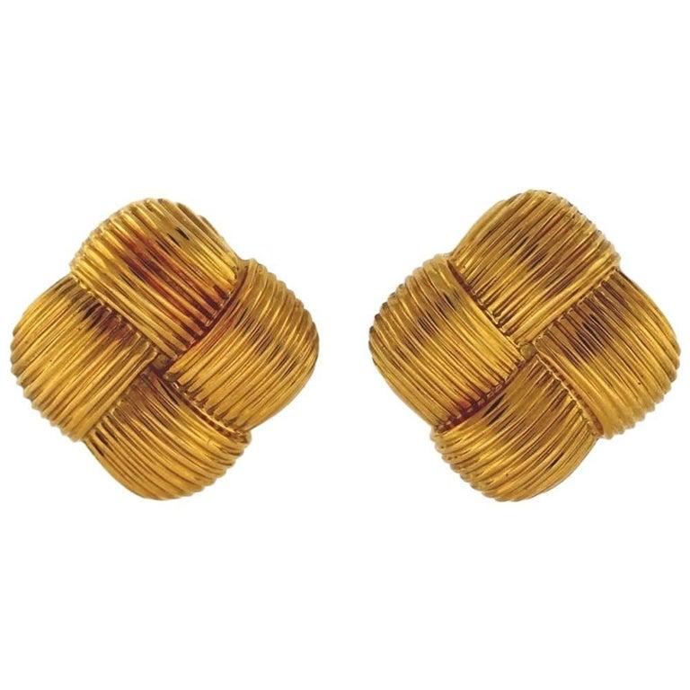 Asprey & Garrard Square Ribbed Gold Clip-On Earrings