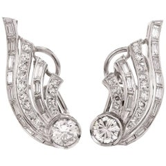 1950s Diamond Platinum Clip-Back Earrings