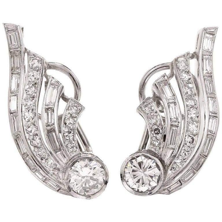 1950s Diamond Platinum Clip Back Earrings For