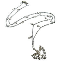 Saint Esprit Silver Paste White Topaz Dove Necklace