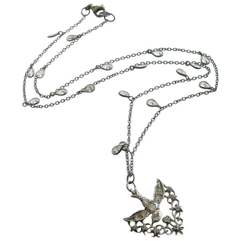 Saint Esprit Silver Paste White Topaz Dove Necklace