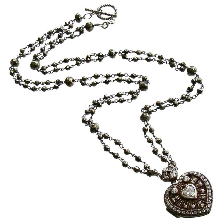 Silver Paste Heart Vinaigrette Layering Necklace Pyrite For Sale