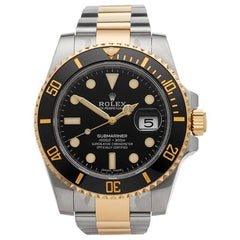 Rolex Yellow Gold Stainless Steel Submariner Date Automatic Wristwatch