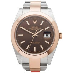 Rolex Rose Gold Stainless Steel Datejust Chocolate Dial Automatic Wristwatch