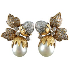 Hazelnuts' Acorns and Leaves Earrings Set with Diamonds and South Sea Pearls