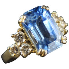 French Engagement Ring with Sapphire and Diamonds