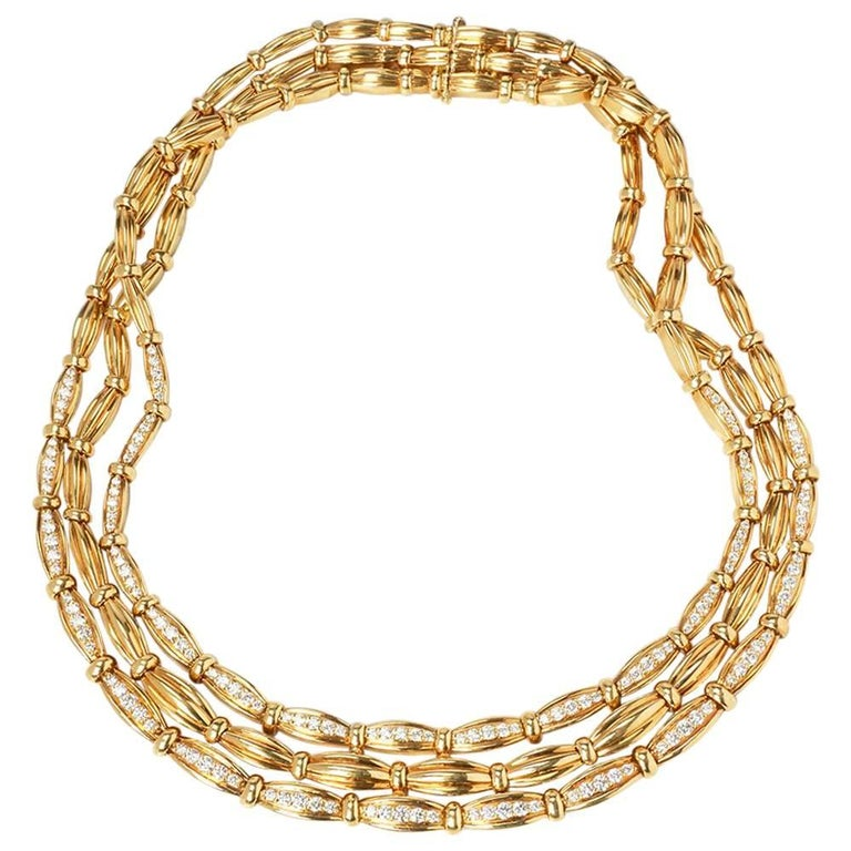 d4d3de476 Tiffany & Co. 18 Karat Yellow Gold Diamond Vintage Three Strand Necklace  For Sale