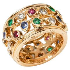 Cartier 18 Karat Yellow Gold Diamond Sapphire Ruby Emerald Band Ring
