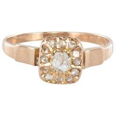 Franösischer Quadratische Diamanten 18 Karat Rotgold Ring, 19. Jahrhundert