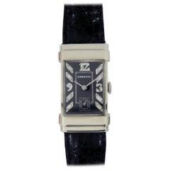 Hamilton White Gold Diamond Top Hat Black Dial Wristwatch