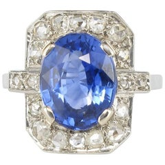 French 1925s Art Deco 4.60 Ceylon Sapphire Diamond Platinium White Gold Ring
