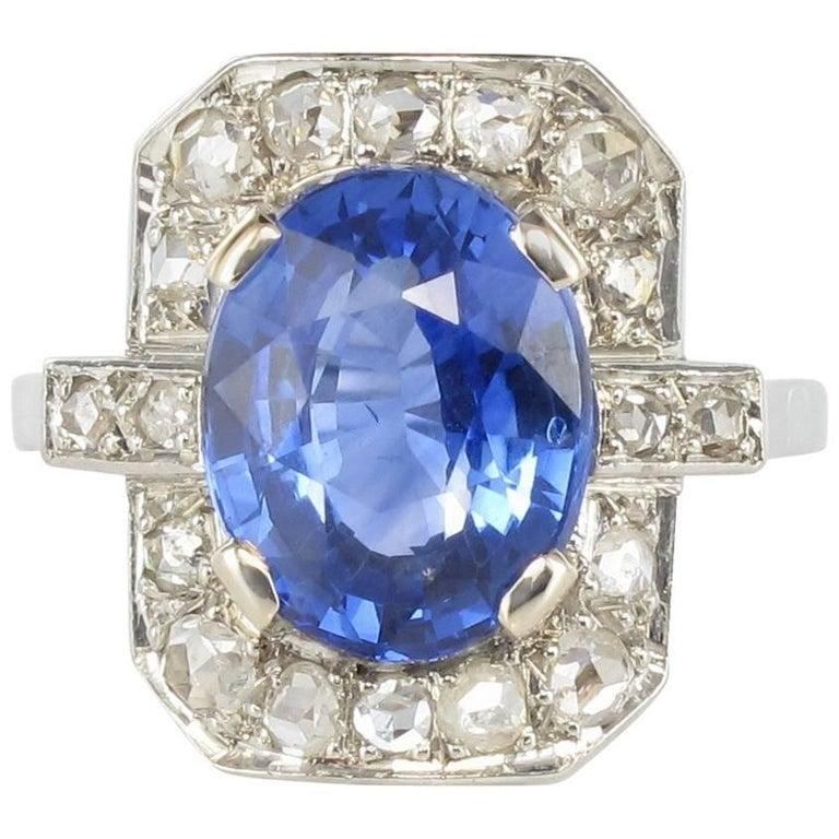 French 1925s Art Deco 4.60 Ceylon Sapphire Diamond Platinium White Gold Ring