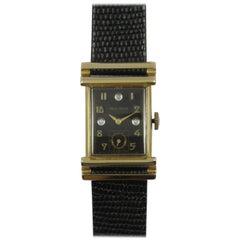 Bulova Yellow Gold Diamond Black Dial Wristwatch