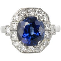 1925 French Art Deco 4.26 Carat Ceylon Sapphire Diamond Ring