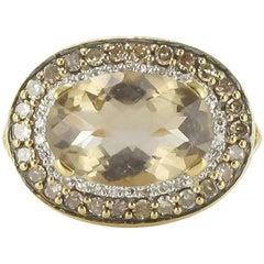 Modern White Diamonds Cognac Diamonds 2.80 Carat Smoky Quartz Ring