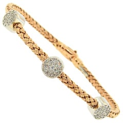 Rose Gold Diamond Circle Mesh Bangle