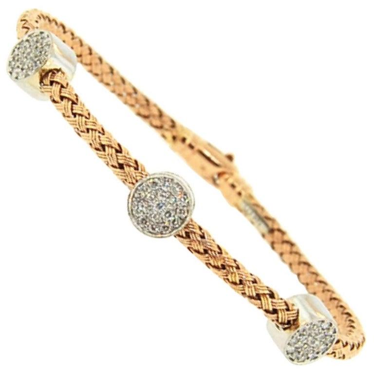 Rose Gold Diamond Circle Mesh Bangle